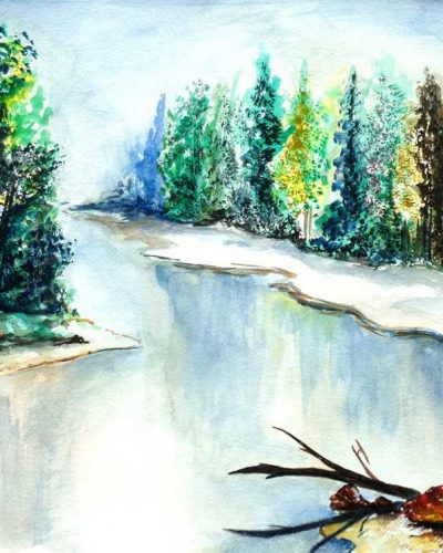 Landscape 1 Original Watercolor Painting, Digital File Instant Download