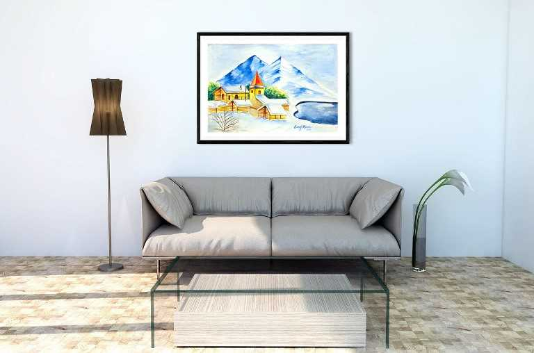 Landscape 2 Original Watercolor Painting, Digital File Instant Download