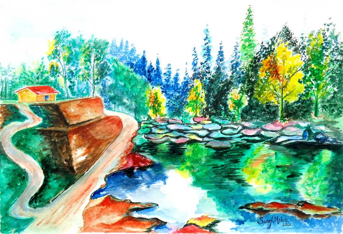 Landscape 3 Original Watercolor Painting, Digital File Instant Download