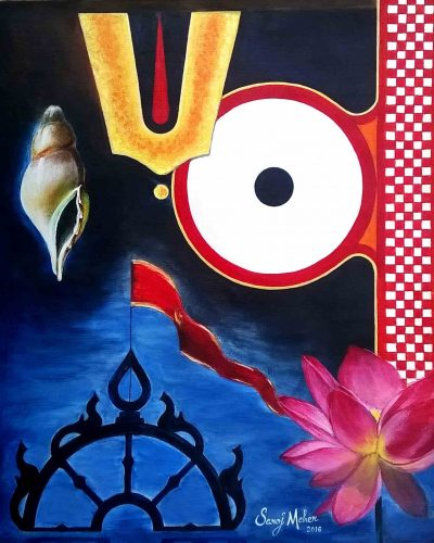 Lord Jagannath - Original Acrylic Painting - 20 x 24 inch - by Saroj Meher