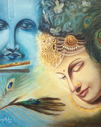 RadhaKrishna - Original Oil Painting - 20 x 24 inch - by Saroj Meher